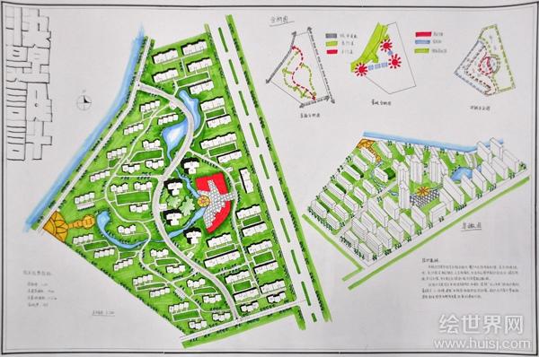 规划考研考题设计手绘图-城市规划快题-建筑设计