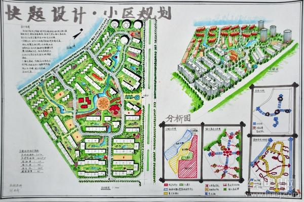 规划考研考题设计手绘图-城市规划快题-建筑设计,室内