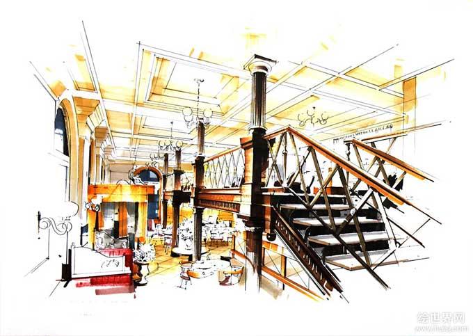 高,大,上 手绘餐厅-室内设计快题-银火网-室内设计与